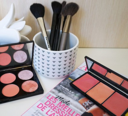 maquillage blush joues palette pinceaux